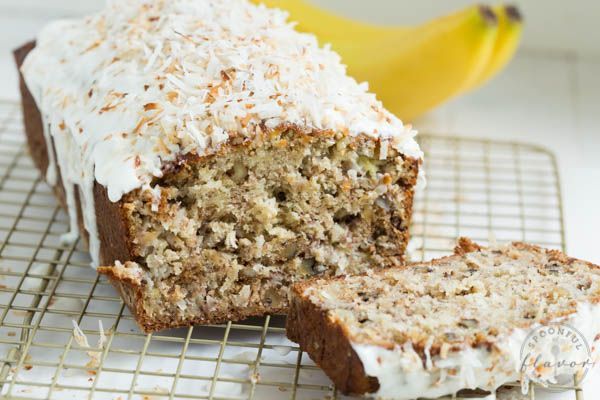 Banana Coconut Crunch Bread with Coconut Cream Icing  by spoonfulofflavor: A simple quick bread that will add flavor to any morning. #Banana_Bread #Coconut