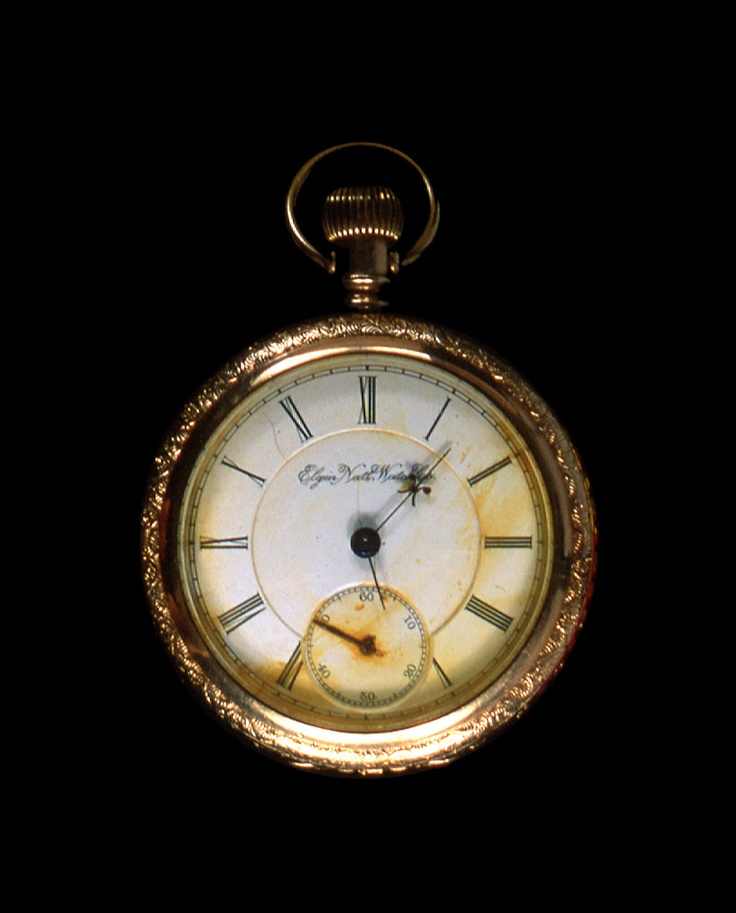 This watch was found on the body of John Starr March, an American mail clerk on Titanic. It probably stopped when the ship sank in the Atlantic.