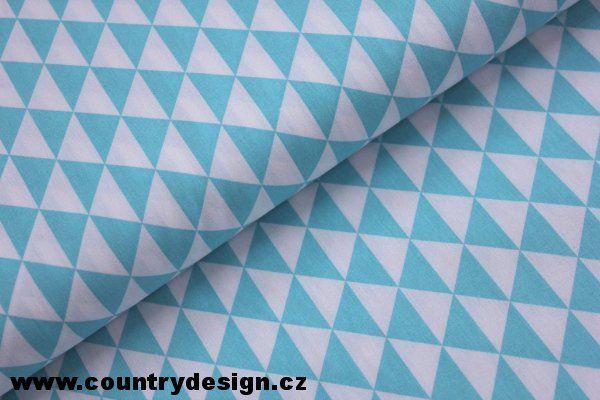 Bavlněná látka : Triangles > varianta Turquoise