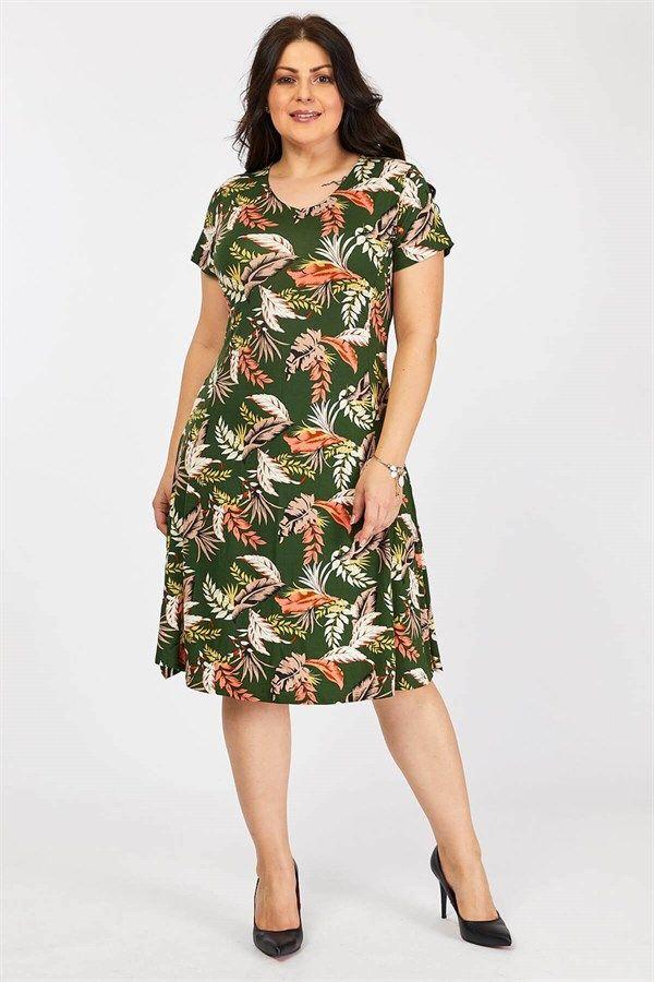 Buyuk Beden Desenli Viskon Elbise Haki Yaprak 2020 The Dress Elbise Moda Stilleri
