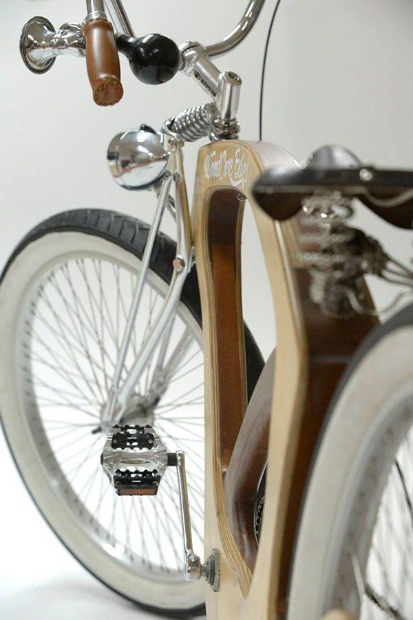 """A """"bicicleta cruiser"""", com o quadro em madeira, surge no âmbito curricular. Nesta unidade curricular é proposto a cada grupo, posteriormente formado aleatoriamente, um briefing desafiando os alunos. Este grupo apostou na construção de uma bicicleta. Com u…"""