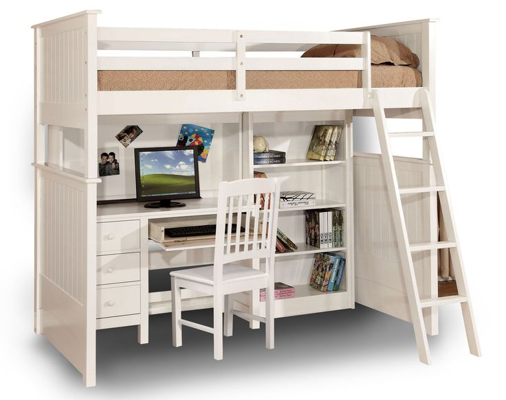 Found it at Wayfair - Twin Loft Bed with Desk and Hutch in white