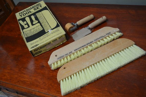✿  bluefolkhome on etsy✿  $19.90 ✿  1970 Paperhanging Tool Set Still in Box Wallpapering Tools and Instructions on How to Hang Wallpaper   I Ship Internationally