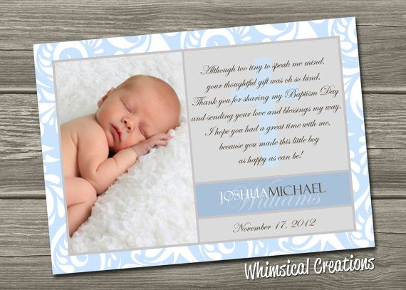 Christening Thank You Card Baptism Thank by WhimsicalCreationsPC