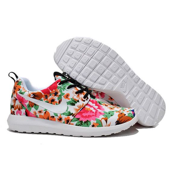 Valentine Day Custom Nike Roshe Run Flyknit Sneakers Athletic Womens... ($89) ❤ liked on Polyvore featuring women's fashion, shoes, silver, sneakers & athletic shoes, tie sneakers, women's shoes, floral printed shoes, valentines day shoes, flower print shoes and floral shoes