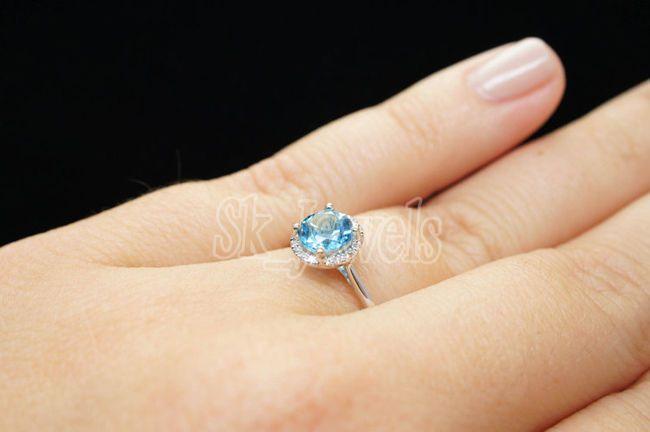 0.55ct NATURAL DIAMOND BLUE TOPAZ 14K WHITE GOLD WEDDING ANNIVERSARY RING  #sk_jewels #RingHarness #Engagement