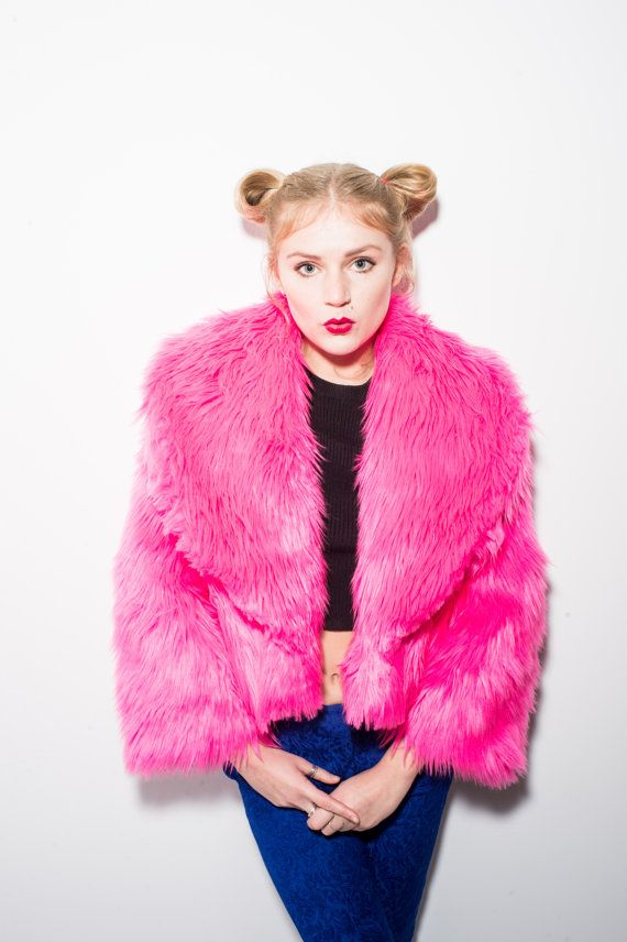 Pink Eve Faux Fur Jacket by bombesurprise on Etsy