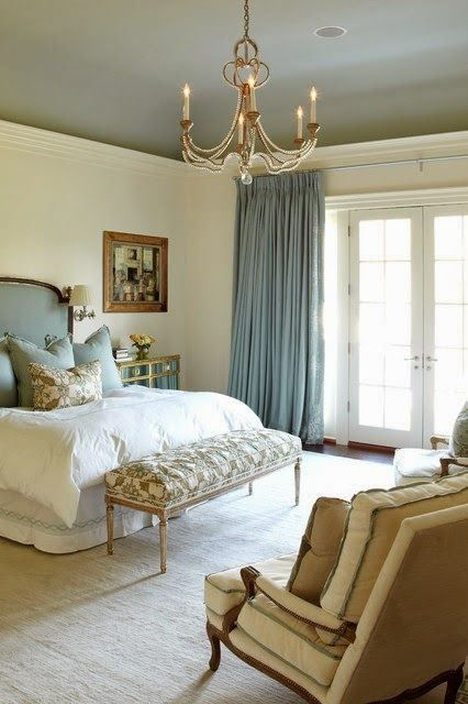 love the ceiling color suzanne kasler interiors by things that inspire via flickr - Bedroom Ceiling Color Ideas