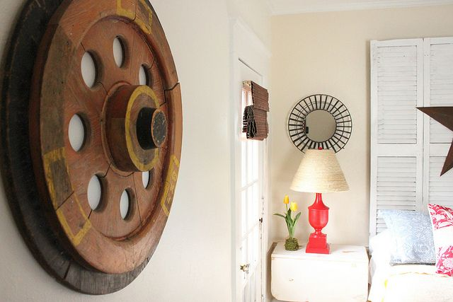 neat old wheel as wall art - I want one! By Inspired by Charm