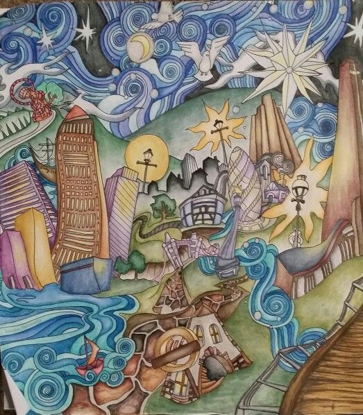 The Magical City Coloring Book For Adults Page London Panorama Coloured With Inktense Pencils And Activated Water Colored By Dayna Brown