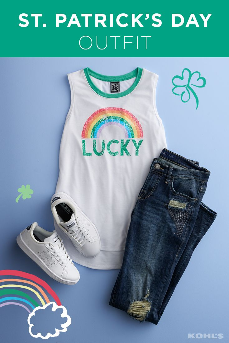 """St. Patrick's Day calls for an extra-special #OOTD. Be proud whether you're Irish or Irish for the day in a lucky shirt. Featured product includes: adidas advantage sneakers; distressed ripped skinny jeans; and """"lucky"""" graphic tank top. Get lucky at Kohl's."""