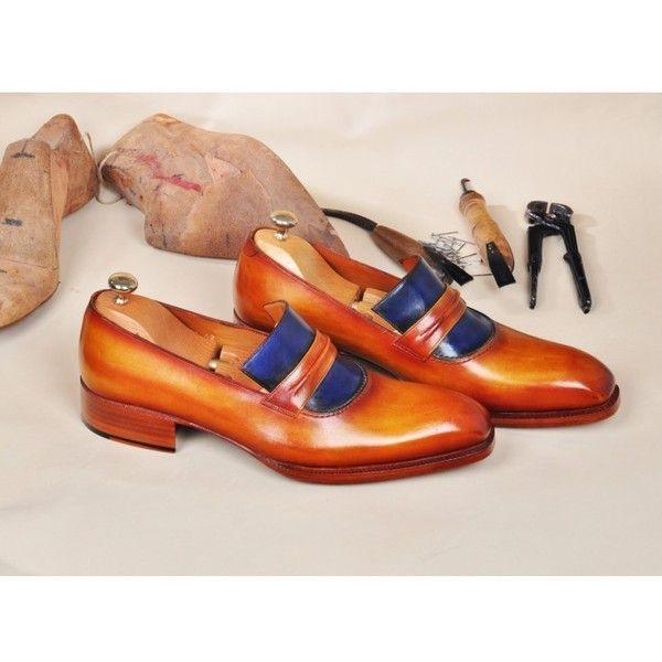 TucciPolo Handmade Leather Luxury Handpolished Tan & Blue Mens Loafers... ($445) ❤ liked on Polyvore featuring men's fashion, men's shoes, mens leather loafer shoes, mens shoes, mens leather shoes, mens tan loafers and mens loafers