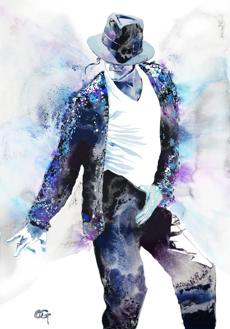 #Michael_Jackson #OHGUSHI #portrait_painting #illustration #watercolor #japanese_ink #墨絵 #水彩