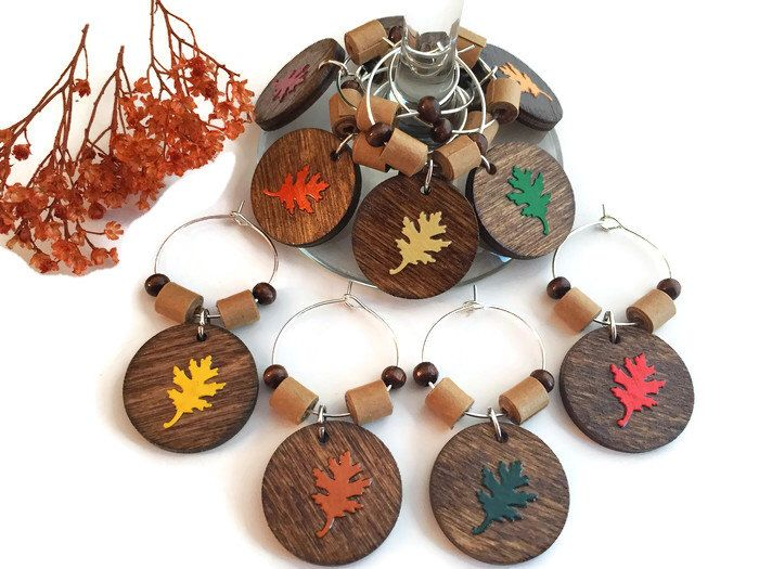 Thanksgiving Wine Glass Charms, Fall Leaves Wine Glass Markers, Rustic Wine Charms, Thanksgiving Decor, Autumn Leaf Wine Glass Tags by AtHomeWithWords on Etsy https://www.etsy.com/listing/490988495/thanksgiving-wine-glass-charms-fall