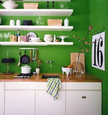 bright green kitchen, wood countertops.