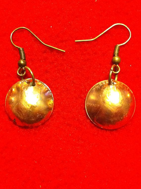 Domed Penny Earrings by cooterscoinrings. Explore more products on http://cooterscoinrings.etsy.com