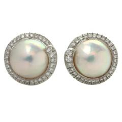 TIFFANY & CO. Diamond Mobe Pearl Platinum Earrings thumbnail 1