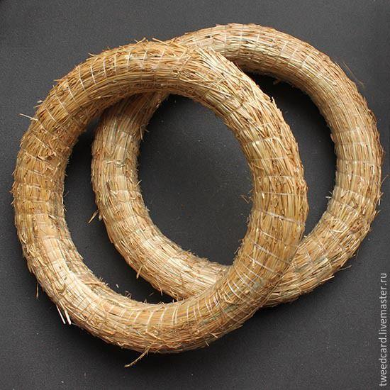 Купить Основа для венка из соломы 20 см - бежевый, венок из соломы, основа для венка