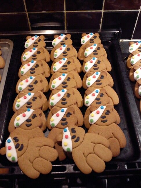 Pudsey Bear biscuits for Children in Need.