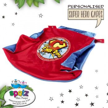 Personalised Kids Super Hero Cape  Is it a bird? Is it a plane? Nope, its way better than that. Its an awesome personalised SPATZ Mini Peeps® Personalised Kids Super Hero Cape! Complete and unique with a SUPER AWESOME design with your child's name placed on the back.