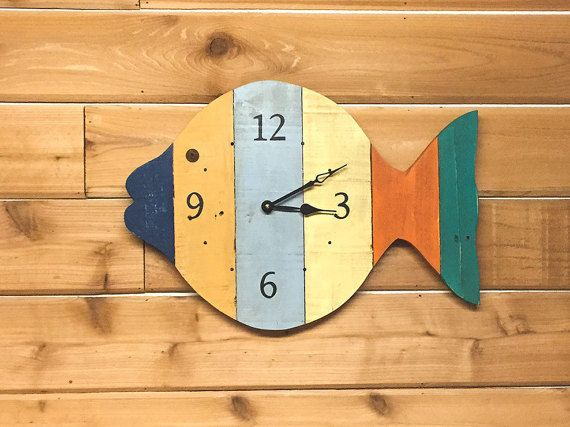 Painted Fish Beach Wall Clock  20 wide tropical by BeachWallDecor