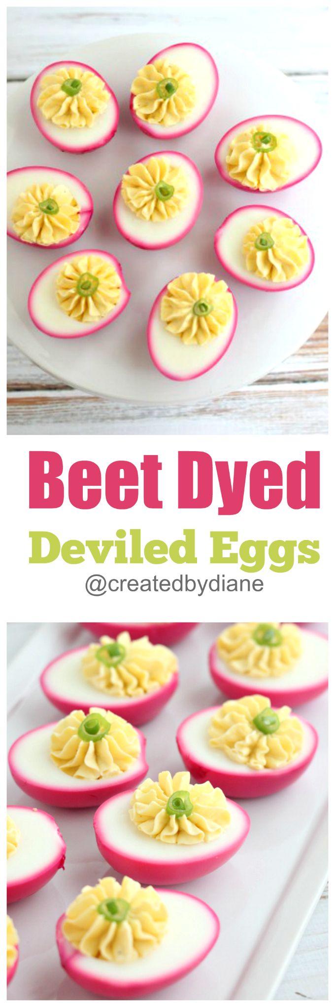 Beet Dyed Deviled Eggs @createdbydiane
