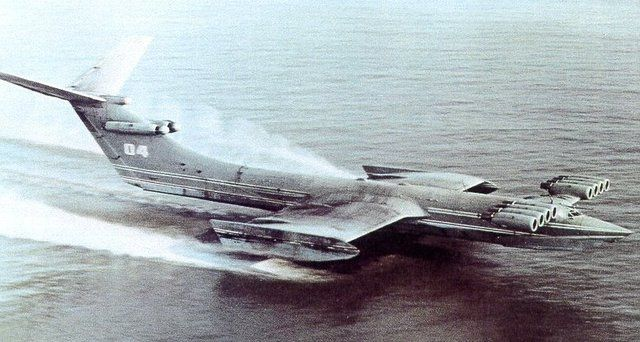 "KM - Russian ""Caspian Sea Monster"" Ekranoplan. The biggest ground-effect vehicle ever designed: 100 meters long, weight: 544 tons, powered by ten Dobryin VD-7 turbojet engines"