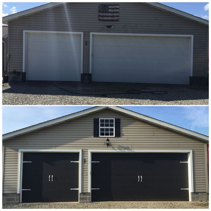 Before and After garage doors. Painted the garage doors black. Spray painted black carriage door hardware white. Hardware from home depot. Fowin faux window from addingcurbappeal.com. Made the shutters from 1x4. Love the results!