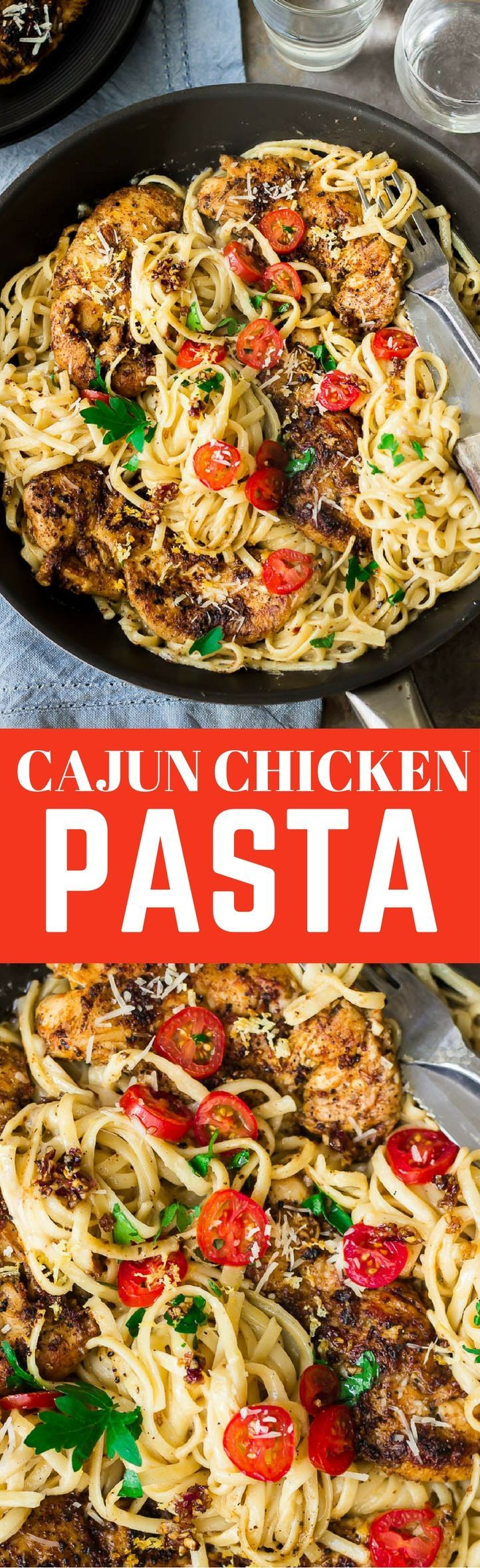 Delicious spicy creamy cajun chicken pasta which cooks in only 20 minutes, with a creamy rich alfredo sauce. An easy and quick restaurant-quality meal in the comfort of your own home.#cajunpasta #pasta #pastarecipes