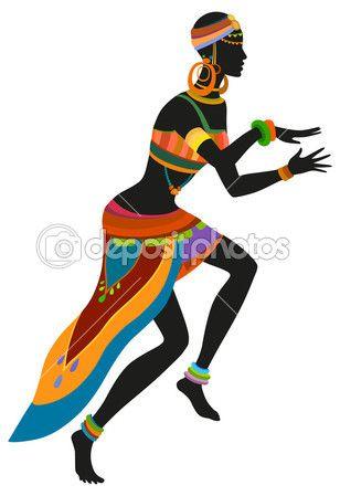 Mujer africana bailando danza ritual — Ilustración de stock #78620844