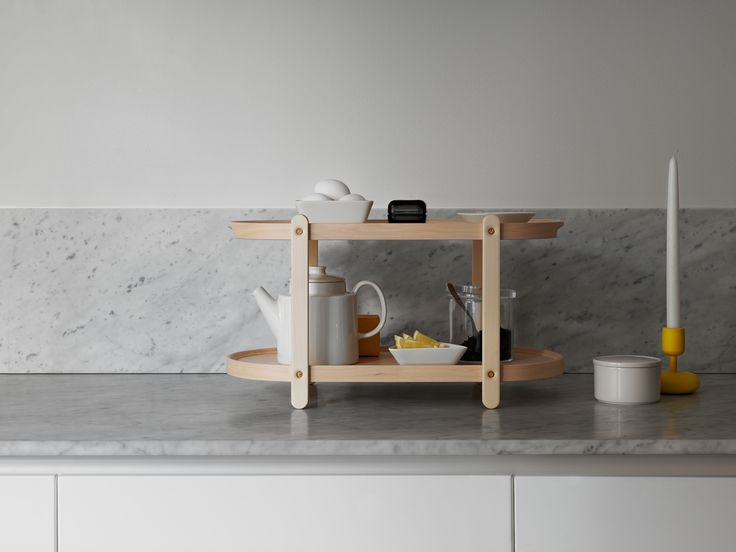 The Kerros (layer or storey in Finnish) shelf is an incredibly clever member of the new Iittala home collection. It is designed to create extra levels of small display storage for anywhere in the home, and functions as a two-level side table, an extra level for cupboard storage or can even be used as a two-storey tray.