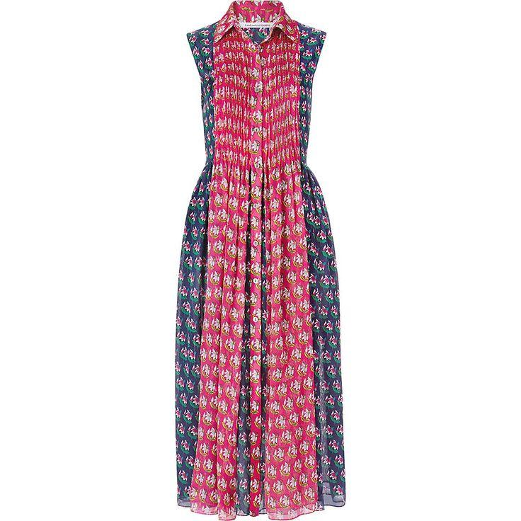 Karlie Kloss wearing Diane von Furstenberg Nieves Pleated Chiffon Shirt Dress