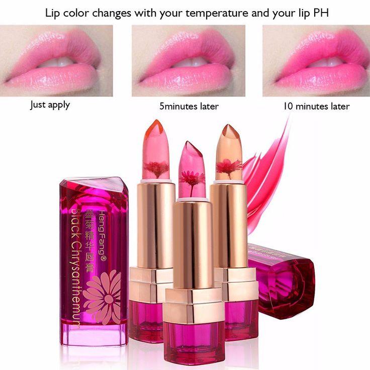 Jelly Lippenstift, LuckyFine Blumen Jelly Lippenstift Magie Farbe Wechselnden Lipstick Lip Gloss Moisturizing Pfirsich: Amazon.de: Beauty