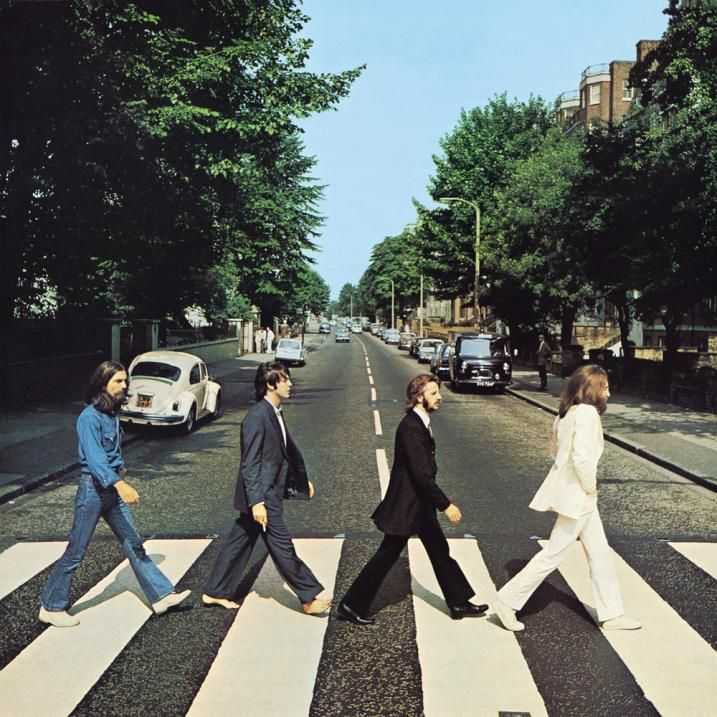 The best selling band of all time... and they're British! The Beatles on Abbey Road, London.