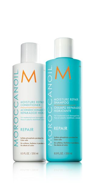 Moroccan Oil Moisture Repair Shampoo and Conditioner. Free from sulphates, phosphates and parabens.