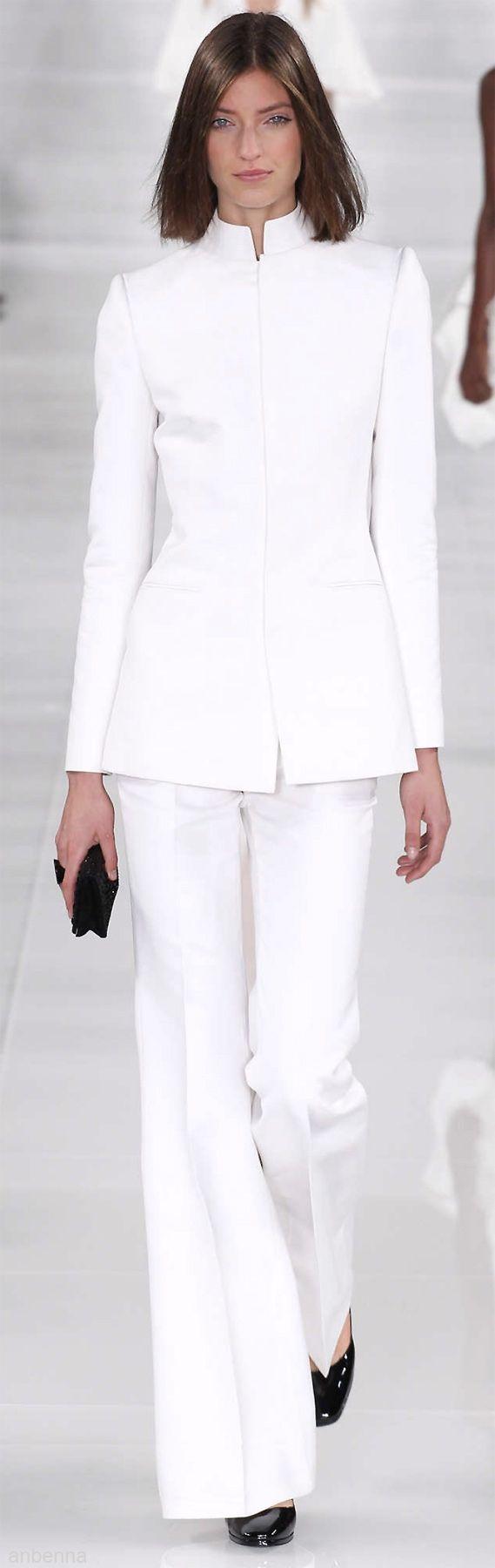 Ralph Lauren ~ White Long Sleeve Tunic Style Jacket w Slender Trouser