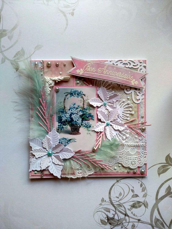 Carte Anniversaire Femme Fait Main 3d Shabby Theme Bouquet Mes