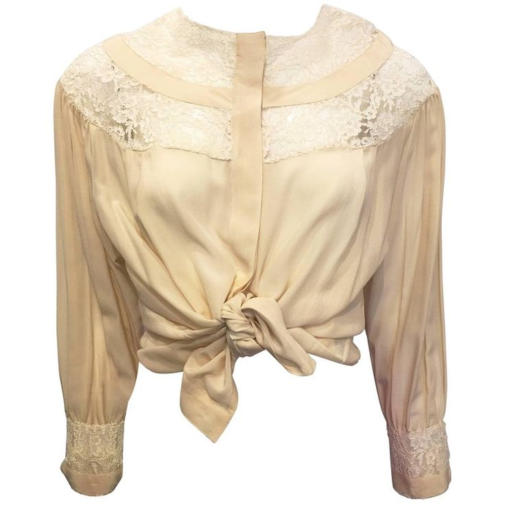 1990s Oleg Cassini Cream Silk Blouse with Lace | From a collection of rare vintage blouses at https://www.1stdibs.com/fashion/clothing/blouses/