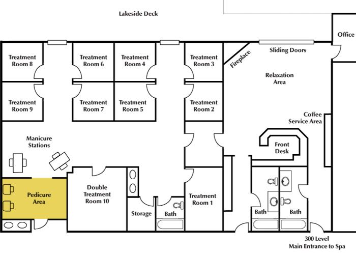 Day spa floor plans minnesota spa resort cragun 39 s resort for Salon floor plans free