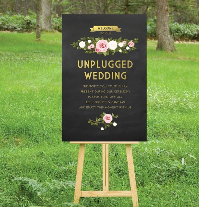 Aisle sign: Beautiful unplugged wedding sign (Great idea but put in program not on sign)