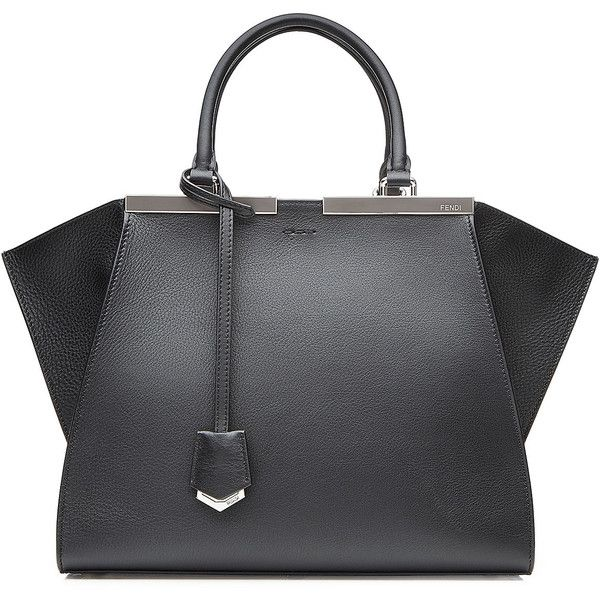 Fendi 3Jours Leather Tote (23 135 SEK) ❤ liked on Polyvore featuring bags, handbags, tote bags, black, genuine leather tote, black leather purse, leather tote bags, zip top tote and black purse