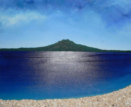 A View To Rangitoto from Auckland: Title: Title: Original landscape painting by artist Megan Morris, painted in acrylics onto framed canvas.