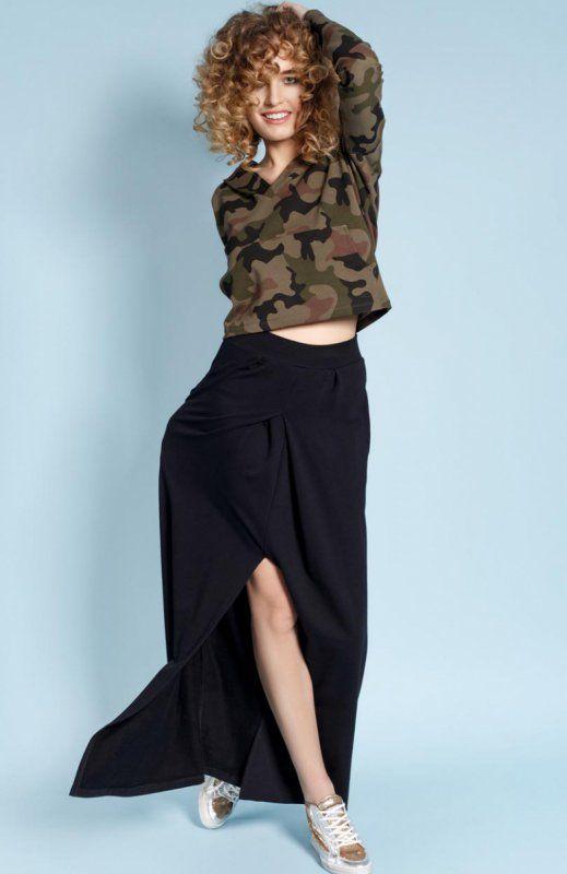 Madnezz Helen spódnica czarna Rewelacyjna spódnica, długość maksi, z przodu wysokie rozcięcie