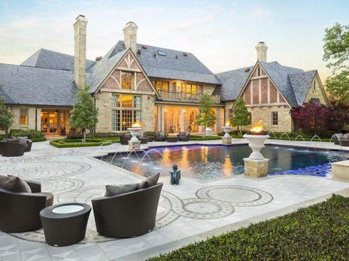 Dans Bois Crete Mansion At 9806 Inwood Road In Preston Hollow   Briggs  Freeman Sothebyu0027s Homes For Sale In Dallas   Backyard Pool