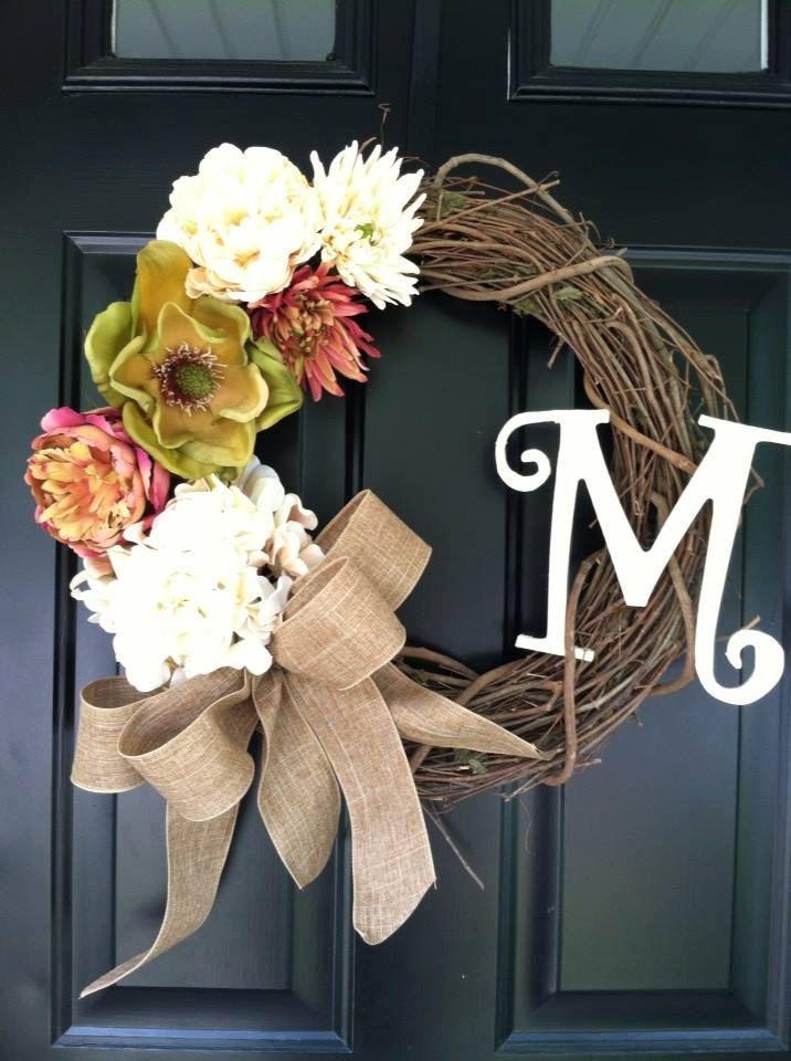 Late Summer / Early Fall Wreath  Magnolia  Hydrangea by jennyCmoon, $58.00