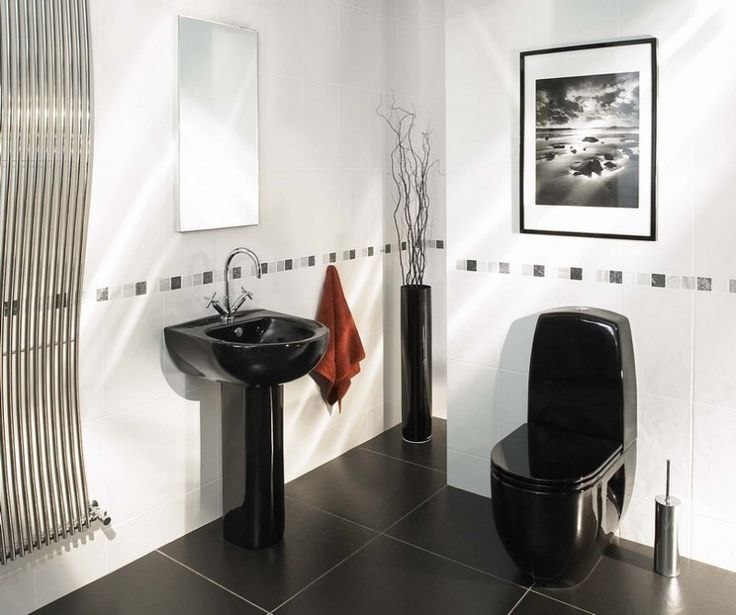 Effective Black And White Bathroom Ideas For Design Inspirations With  Elegant Black Pedestal Sink Complete With The Faucet That Have Wall Mirror  Also Small ...