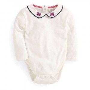 Bus Embroidered Collar Baby Peter Pan Bodysuit