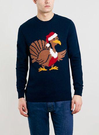 NAVY TURKEY christmas JUMPER