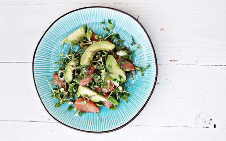Salade met avocado, pompelmoes en tuinkers