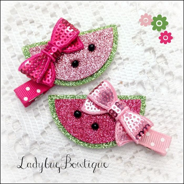 Sweet and sparkly watermelon clips are made with non-shedding glitter fabric and soft wool-blend felt with sequin bows and small beads.  They are attached to large alligator clips that have been partially-lined with grosgrain ribbon, leaving the bottom prongs exposed.    Mix and match or wear t...